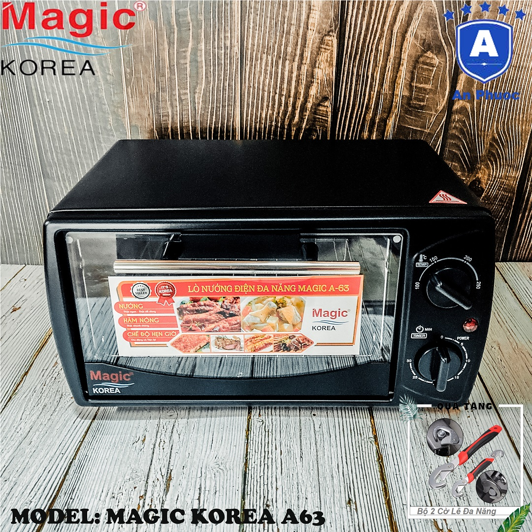 Lò nướng bánh mini Magic Korea A63 | Dung tích 12 Lít | Công suất 1000W | Màu đen | Bảo Hành Chính Hãng 12 Tháng | Tặng Bộ 2 Cờ Lê Đa Năng