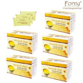 5 Tinh nghệ vàng Forny 150g - Hộp giấy 30 gói 5g DP (Hộp 30 gói x 5 g)(Đặc biệt phù hợp với người viêm loét dạ dày, phụ nữ sau sinh hồi phục sức khỏe và sắc đẹp, người sử dụng rượu bia thường xuyên, tốt cho hệ tiêu hóa) (tinh bột nghệ) (Ti thumbnail