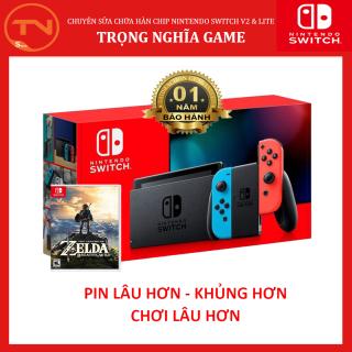 Máy Chơi Game Nintendo Switch New Model Aeon Blue and Neon Red Joy Con [Pin Lâu Hơn]+The Legend Of Zelda Breath Of The Wild Tặng Dán Cường Lực thumbnail