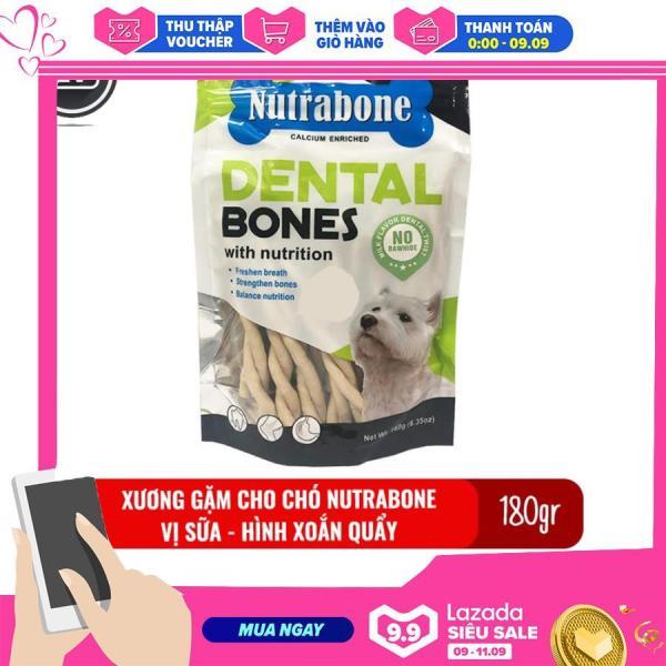 Xương cho chó vị sữa Nutrabone 180gr hình xoắn quẩy - Xương gặm sạch răng cho chó