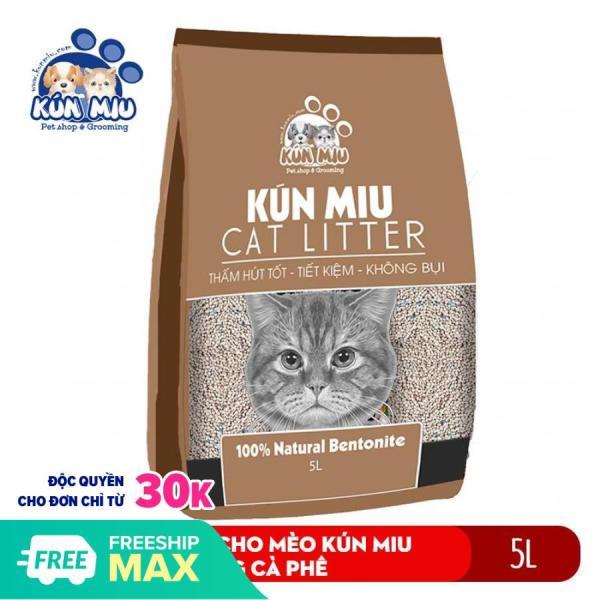 Cát vệ sinh cho mèo Kún Miu hương cà phê 5L chất liệu bentonite thấm hút và khử mùi hiệu quả