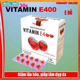 [Hộp 100 viên] Viên Uống Đẹp Da Vitamin E đỏ 4000mcg, Aloe vera 500mg Giúp sáng mịn da, chống lão hóa - thumbnail