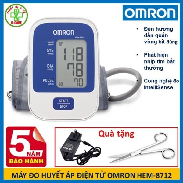 Máy đo huyết áp điện tử bắp tay Nhật bản Omron HEM-8712 - Dụng cụ đo huyết áp, nhịp tim cho kết quả nhanh chóng, chính xác - Tặng bộ đổi nguồn và kéo cắt chỉ y tế TBYT H-care]
