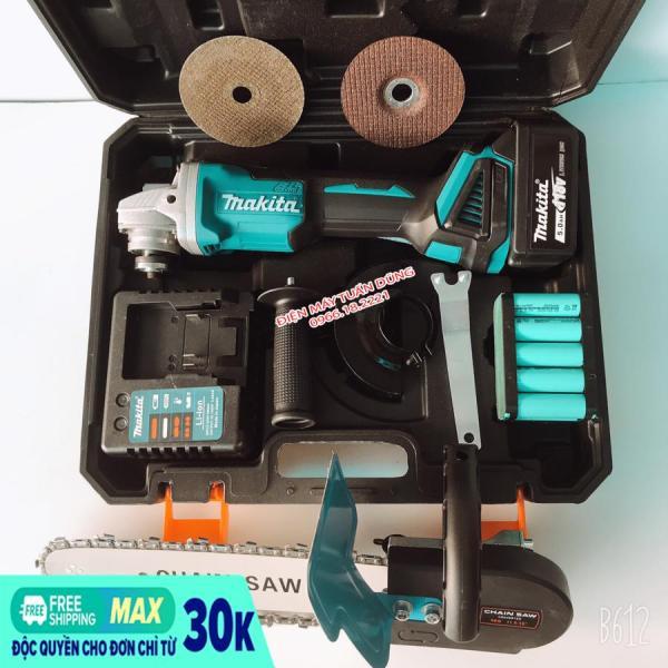 Máy mài pin Makita 118v, 2 pin 20000mAh, 3 tốc độ, không chổi than, tặng lưỡi cưa gỗ và đá mài, đá cắt