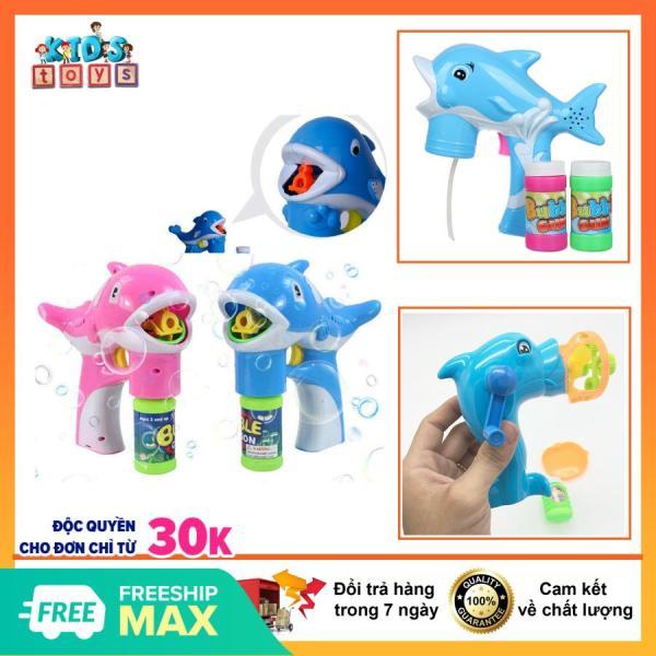 đồ chơi bắn bong bóng xà phòng hình chú cá cho bé, Kèm núm tạo hình bong bóng