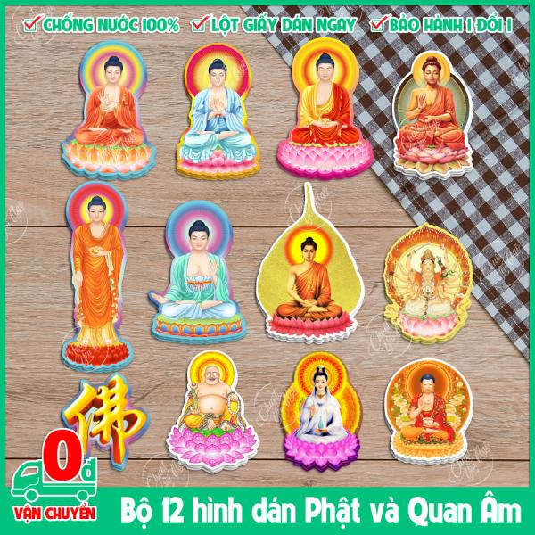 [HCM]Bộ 12 miếng dán decal chống nước hình Phật dùng để trang trí cầu may mắn bình an