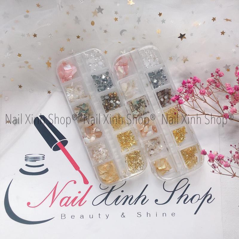 Khay nail 12 ô trang trí móng tay, phụ kiện nail hot 2020 ( hộp 12 ô, mix xà cừ,đá, icon 3D, hoa)