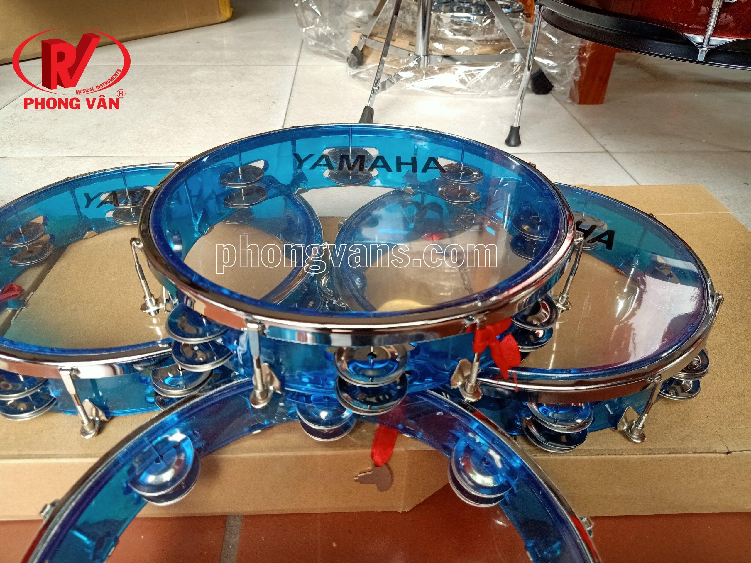 Trống lắc tay lục lạc màu đỏ xanh - Trống tambourine gõ bo