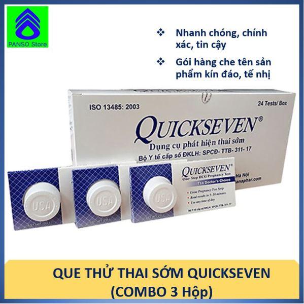Que thử thai sớm, chính xác QuickSeven - Combo 3 que thử thai QuickSeven nhanh chóng, tin cậy, giá rẻ - Dung cụ thử thai chính hãng Dược Tân Á [PANSO Store] cao cấp