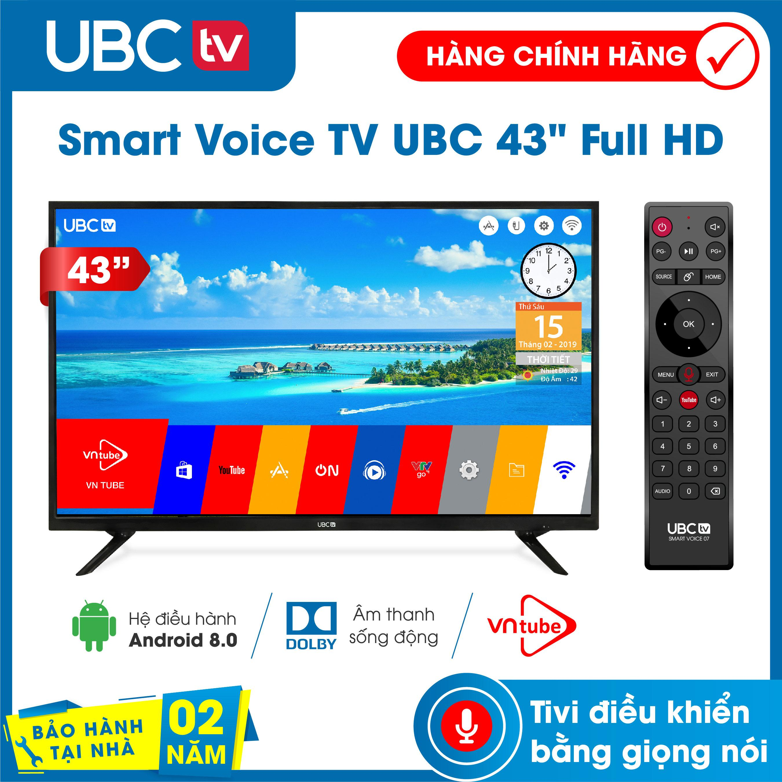 Smart Tivi UBC FULL HD 43inch Android 8.0, Tìm Kiếm Giọng Nói (voice Search), Tính Năng Bảo Vệ Trẻ Em (mới), Remote 2 In 1 Kèm Tính Năng Chuột Bay,  Model UB43V700 - Bảo Hành 2 Năm Tận Nhà, Dò Kênh Tự động Free-to-Air, âm Thanh Dolby Giá Tiết Kiệm Nhất Thị Trường