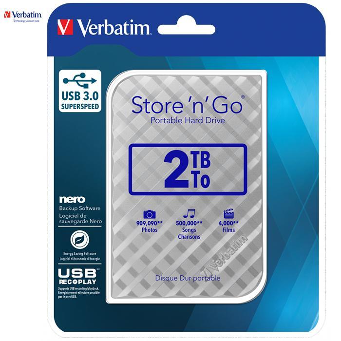 Giá Ổ cứng di động Verbatim 2.5 USB 3.0 2TB (Bạc)