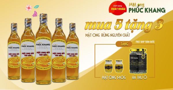 [ Hot Sale ] Mật Ong Cao Cấp Xuất Khẩu Phúc Khang - Combo tiết kiệm 5 chai 720g - ISO 22000 -2018 Ng