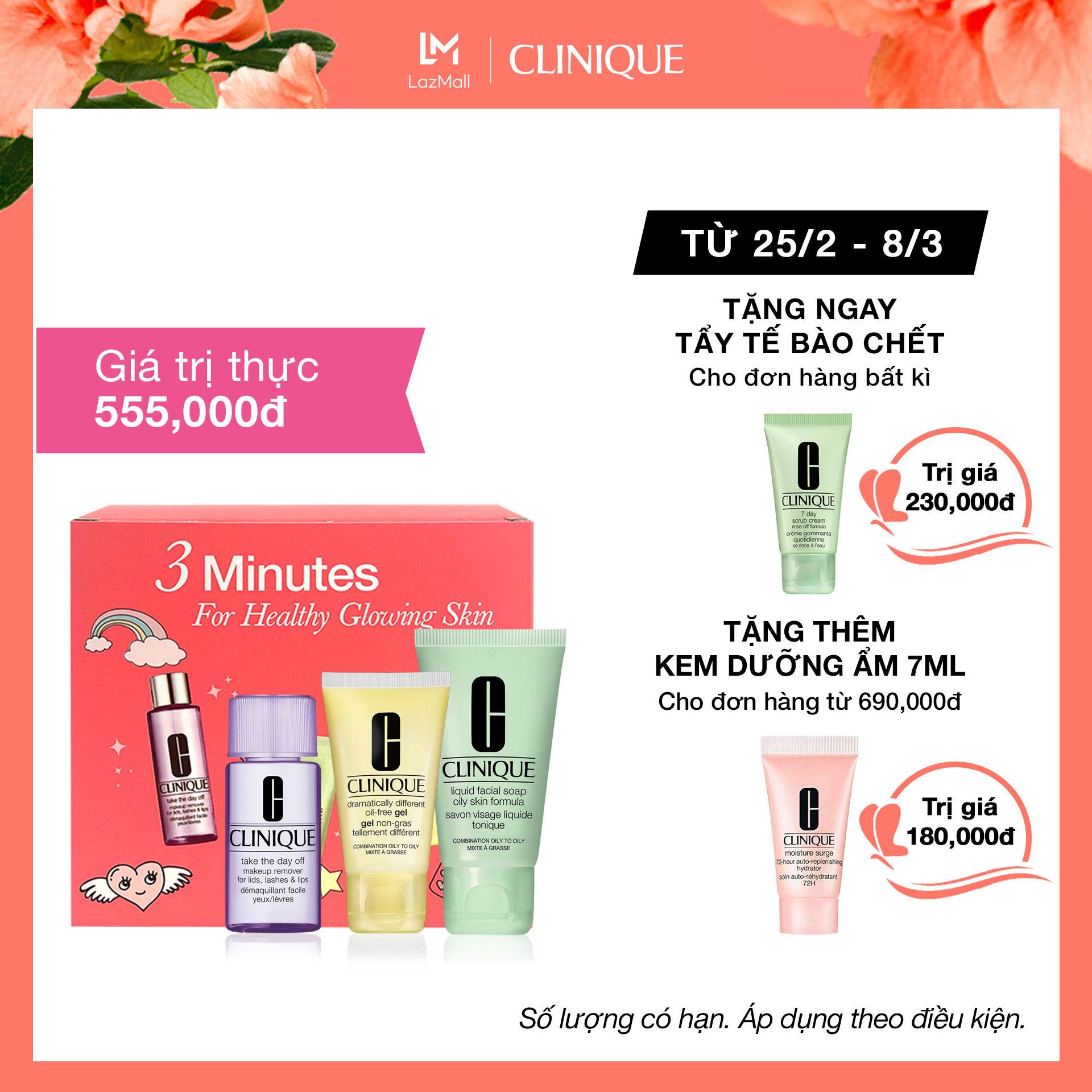 Bộ sản phẩm dùng thử Clinique 30ml: Nước tẩy trang, Sữa rửa mặt, Kem dưỡng ẩm cân bằng nhập khẩu