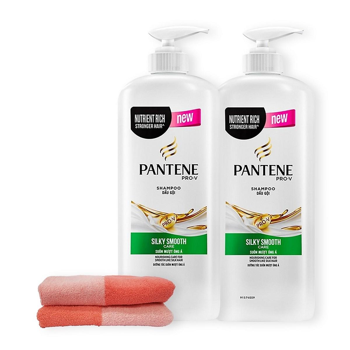Combo 2 Dầu gội Pantene suôn mượt óng ả 1200g - Tặng khăn tắm cao cấp nhập khẩu