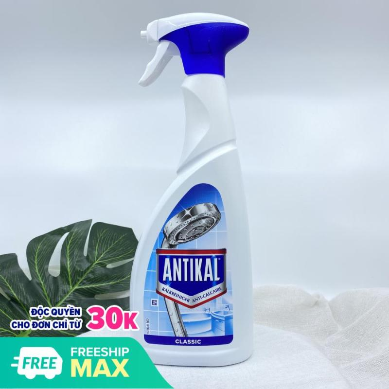 Xịt tẩy rửa đa năng tẩy cặn canxi trên đồ inox Antikal chống ăn mòn inox và ngăn cặn quay lại.
