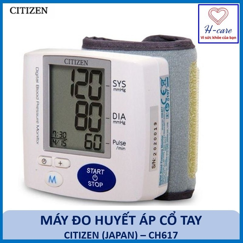 Máy đo huyết áp điện tử cổ tay tự động Citizen (Japan) CH617 - Máy đo huyết áp Nhật bản chất lượng cao chính xác, tin cậy, giá rẻ [TBYT H-Care]