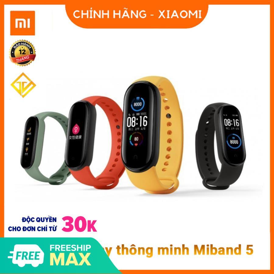 [Nhập ELAPR21 giảm 10% tối đa 200k đơn từ 99k]Vòng tay theo dõi sức khoẻ Xiaomi Mi Band 5 (Màu đen)- Tặng dán màn hình - Đồng hồ thông minh Miband 5 - Chính Hãng Xiaomi