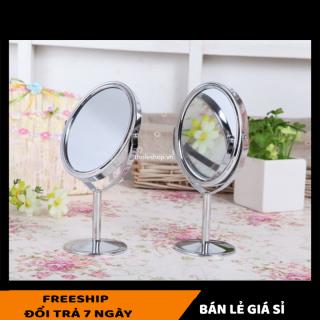 Gương tròn trang điểm 2 mặt gương - Gương để bàn 2 mặt tiện lợi - Gương soi 2 mặt xoay 360 độ [LẺ GIÁ SỈ] thumbnail