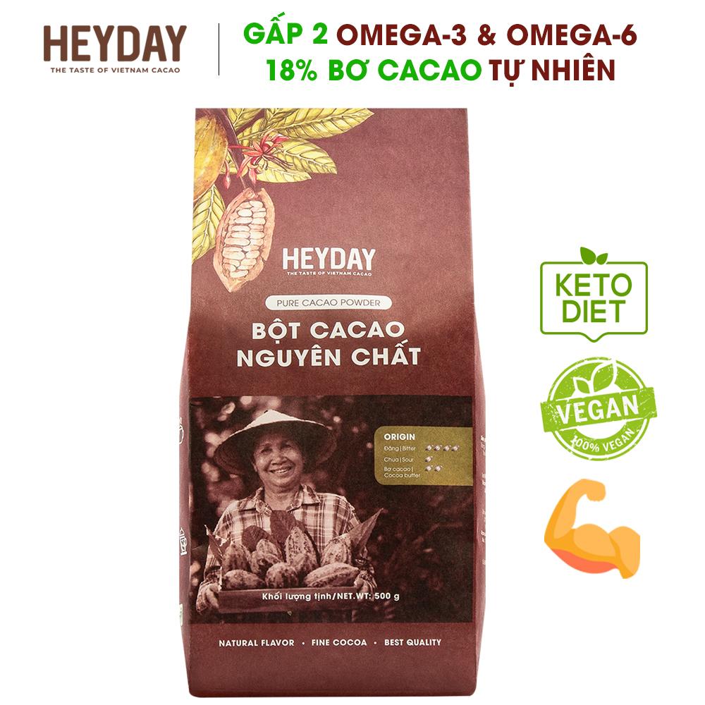 Offer tại Lazada cho Bột Cacao Nguyên Chất 100% Heyday - Dòng Origin Thượng Hạng 18% Bơ Cacao Tự Nhiên - Túi 500g - Phù Hợp Chế độ ăn Kiêng KETO, Low-Carb, DAS - Không đường, Không Phụ Gia, Không Hương Liệu - Chuẩn UTZ Quốc Tế