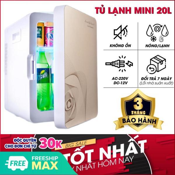 Tủ lạnh 20L - Tủ lạnh mini - Tủ lạnh 20 Lít 2 chiều nóng - lạnh nguồn vào 12v/220v-Tủ lạnh mini cho xe ô tô và hộ gia đình (Màu họa tiết ngẫu nhiên)