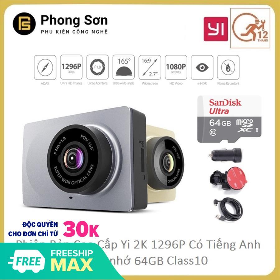 Camera hành trình Xiaomi YI Car Smart Dash 1296p 2K - Có tiếng anh (Tặng thẻ 64GB 80mb/s Sandisk) - Bảo hành 12 tháng