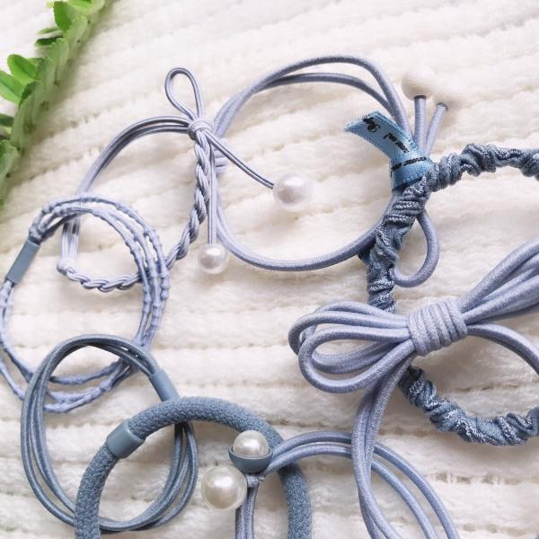 Bộ dây chun buộc tóc nữ 8 kiểu dây thun đồ cột tóc xinh xắn Hàn Quốc màu xanh xám