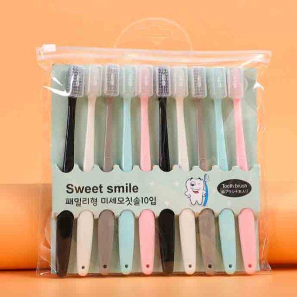 Raffer Set 10 bản chải đánh răng Macaron Hàn Quốc - Mềm mại kháng khuẩn nhỏ gọn dễ dàng mang theo RF039