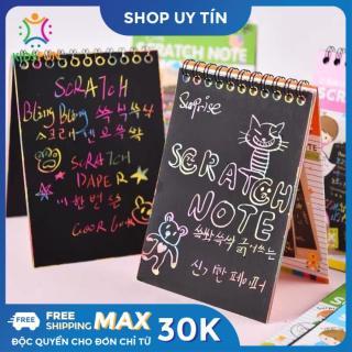Sổ vẽ ma thuật SCRATCH NOTE 10 tờ tạo những nét vẽ đa sắc màu trên nền giấy đen kích thích phát triển sự tưởng tượng, sáng tạo cho trẻ em từ 3 tuổi trở lên thumbnail