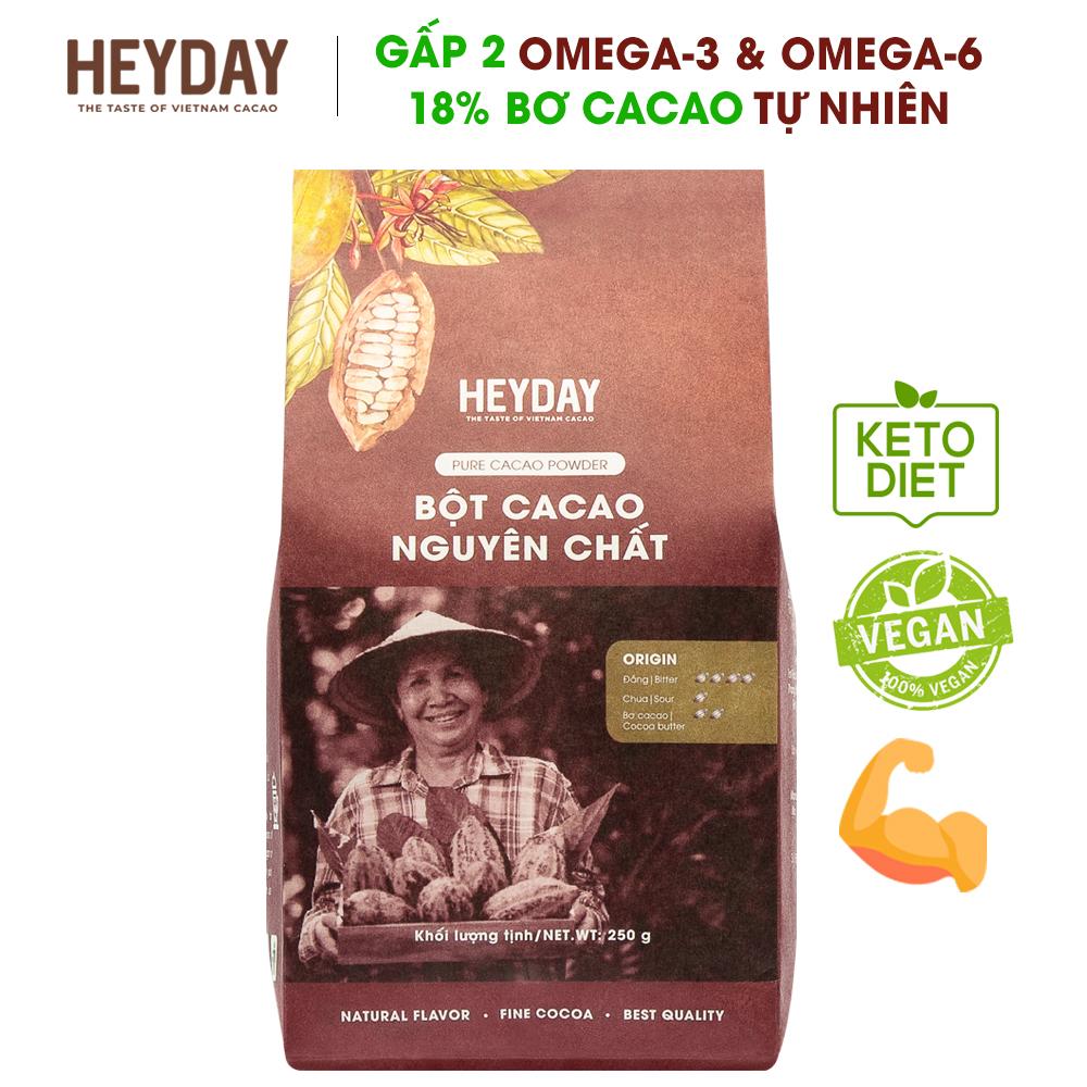 Deal Ưu Đãi Bột Cacao Nguyên Chất 100% Heyday - Dòng Origin Thượng Hạng 18% Bơ Cacao Tự Nhiên - Túi 250g - Phù Hợp Chế độ ăn Kiêng KETO, Low-Carb, DAS - Không đường, Không Phụ Gia, Không Hương Liệu - Chuẩn UTZ Quốc Tế