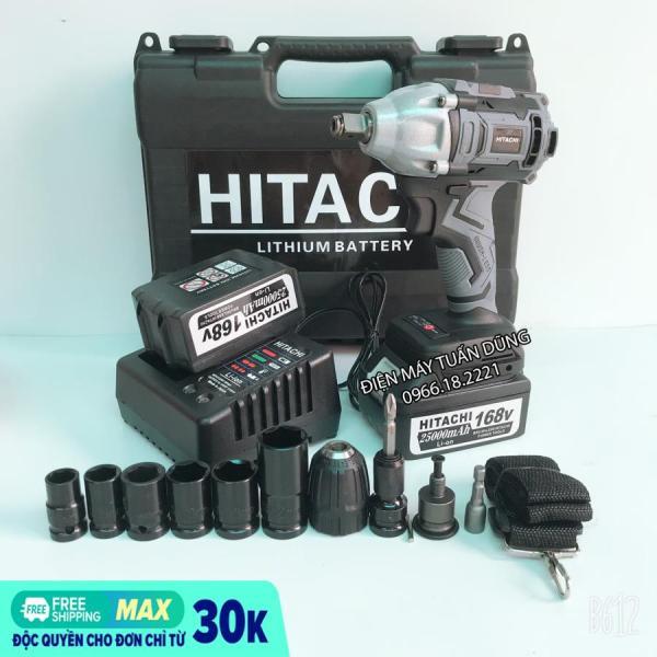 Máy siết bulong pin Hitachi 168V Không Chổi Than KÈM BỘ ĐẦU CHUYỂN ĐỔI VÀ 5 KHẨU