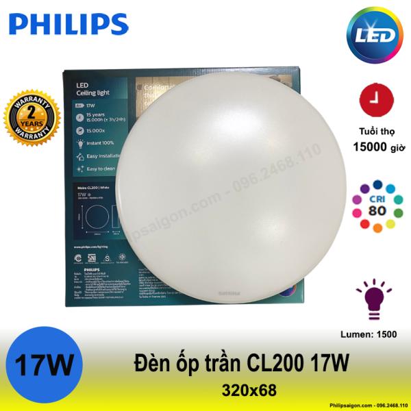 (Mẫu mới) Đèn ốp trần Philips CL200 17W sáng trắng (6500K) ,đố sáng cao hơn, tiết kiệm 80% điện năng, không hiện tượng ố vàng, dễ vệ sinh và chống con trùng - bảo hành 24 Tháng