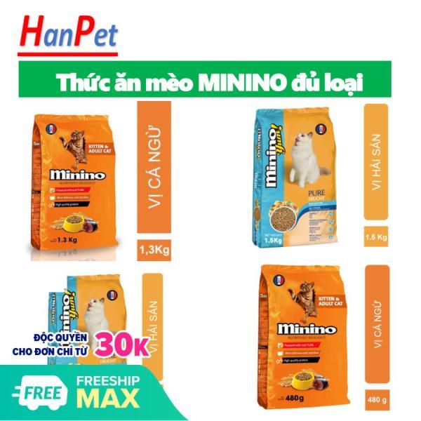 HCM - Minino Yum & Minino cá ngừ (2 loại) Thức ăn cho mèo mọi lứa tuổi / me-o / thức ăn hạt khô dành cho mọi loại mèo / me-o cá ngừ / me- hải sản...