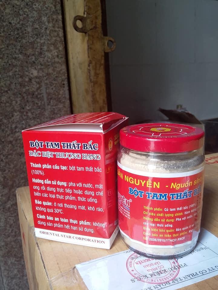 Bột Tam Thất Bắc Thượng Hạng Xuân Nguyên lọ thủy tinh 100gr có tác dụng cầm máu, bồi bổ khí huyết
