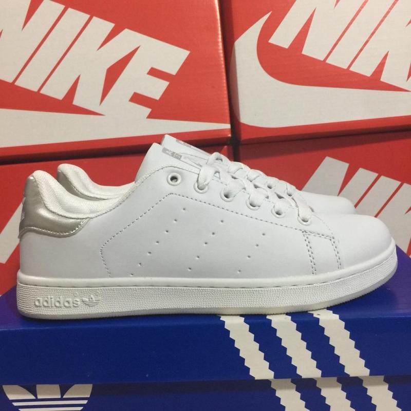 Giày thể thao trắng stan smith gót bạc nam nữ loại đẹp