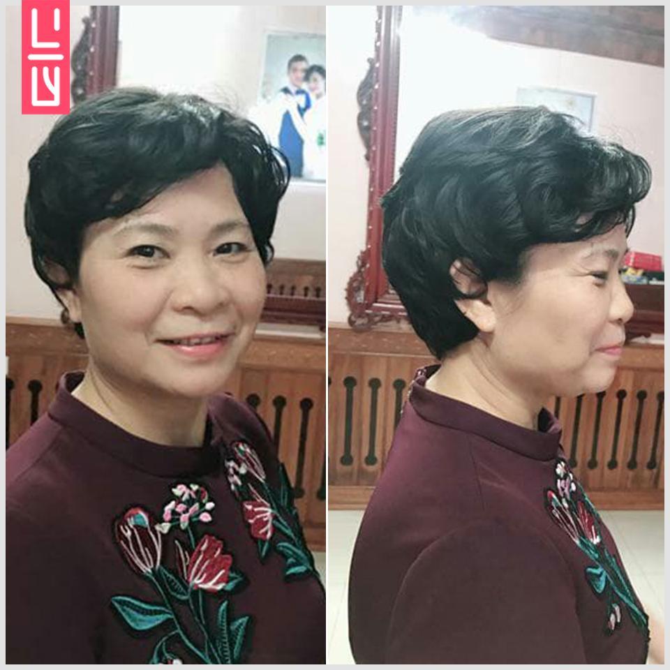 Tóc giả nữ trung niên xoăn ngắn tặng kèm lưới trùm dành riêng cho người lớn tuổi (Lựa chọn màu sắc sau khi đặt hàng) tốt nhất
