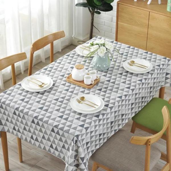 Khăn trải bàn Mary Decor - Tam giác trắng đen xám - Đủ kích thước