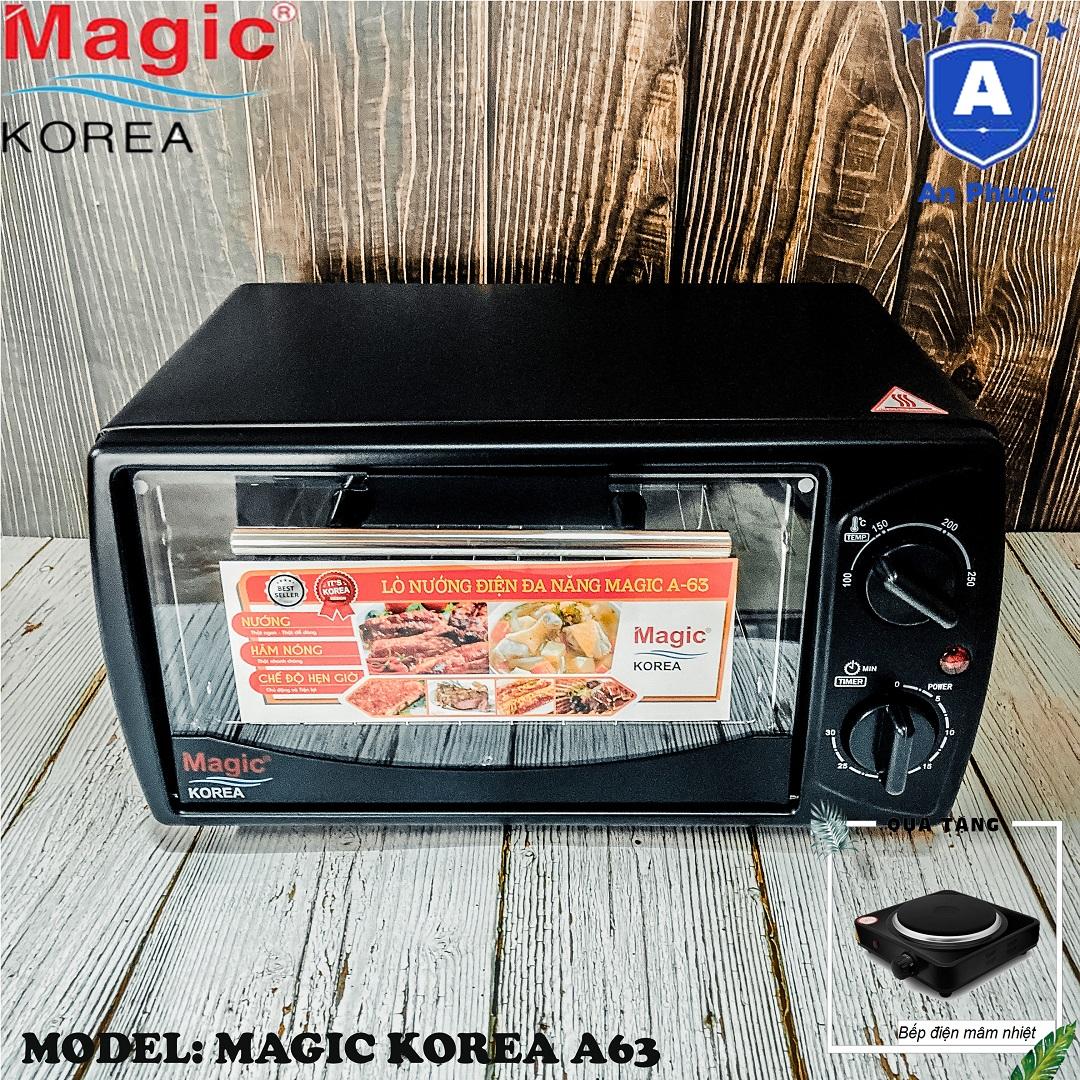 Lò nướng bánh mini Magic Korea A63 | Dung tích 12 Lít | Công suất 1000W | Màu đen | Bảo Hành Chính Hãng 12 Tháng | Tặng Bếp Điện Mâm Nhiệt Perfect HP7891