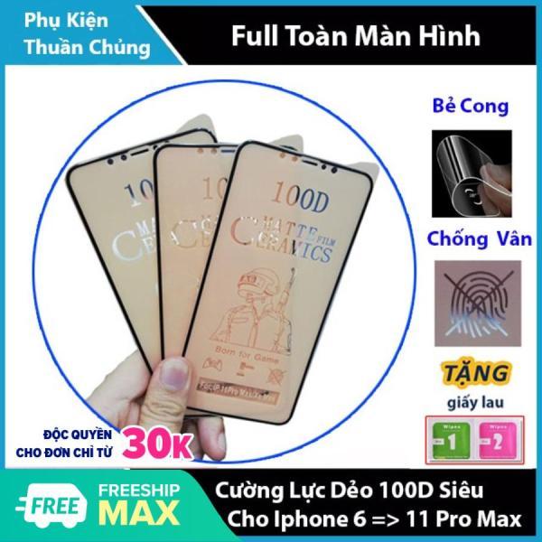 Kính Cường Lực Dẻo Nhám 100D Siêu Mỏng,Siêu Bền,Chống Bám Vân Tay,Chống Va Đập Dành Cho Iphone 6/7/8/X/11 6Plus 7 Plus 8 Plus Xr Xs Max Iphone 11 Pro Max Chất Lượng Cao,Bẻ Không Vỡ