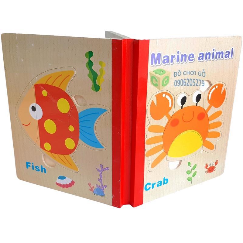 Đồ Chơi Trẻ Em Thông Minh - Sách Gỗ Ghép Hình (Sinh Vật Biển) Giá Cực Ngầu