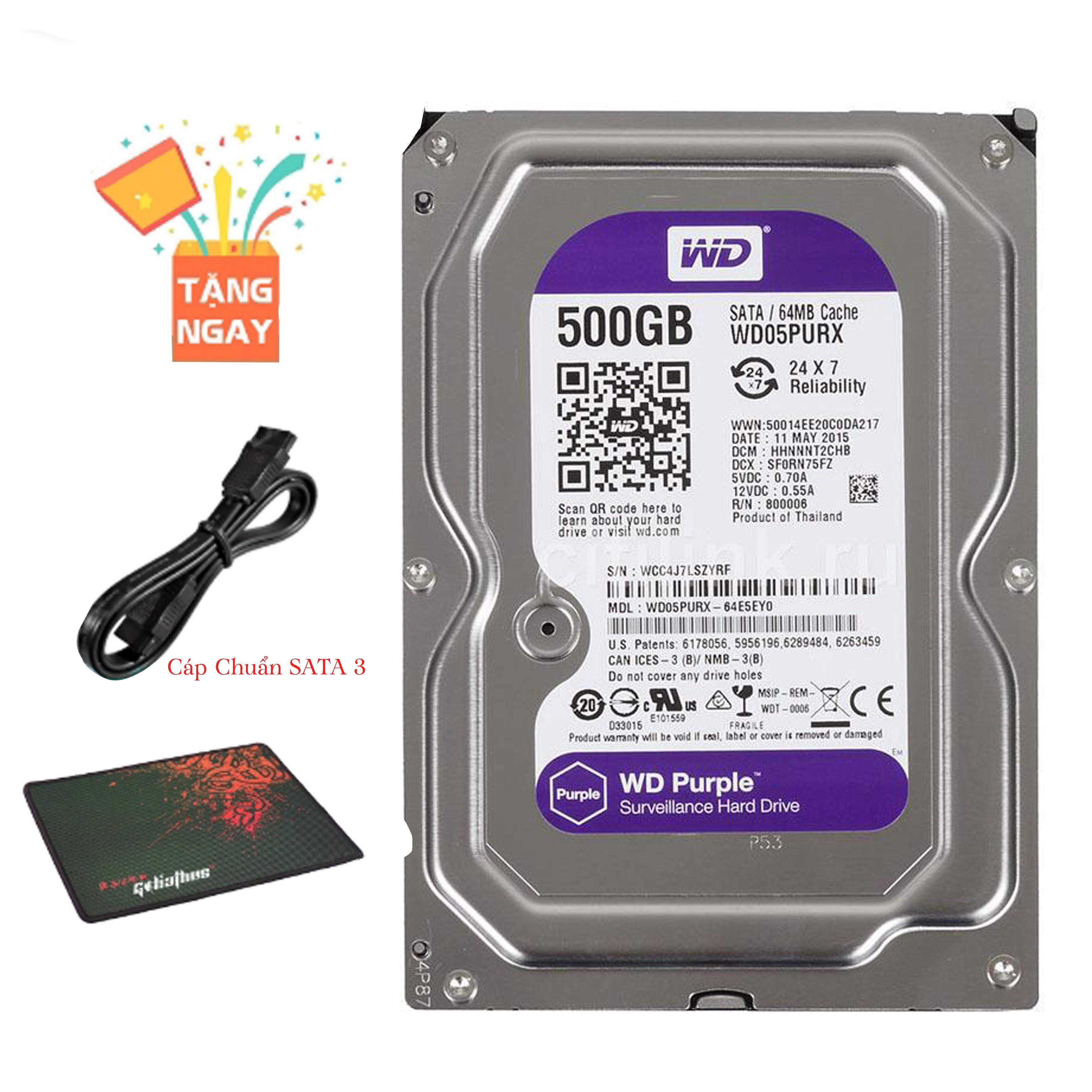 Ổ Cứng Gắn Trong  Western Digital Purple 500GB Cho Camera Siêu Khuyến Mại