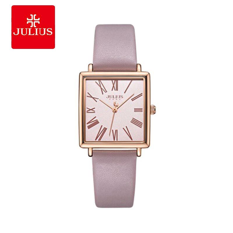 Đồng hồ nữ Julius JA-1269 dây da mặt vuông