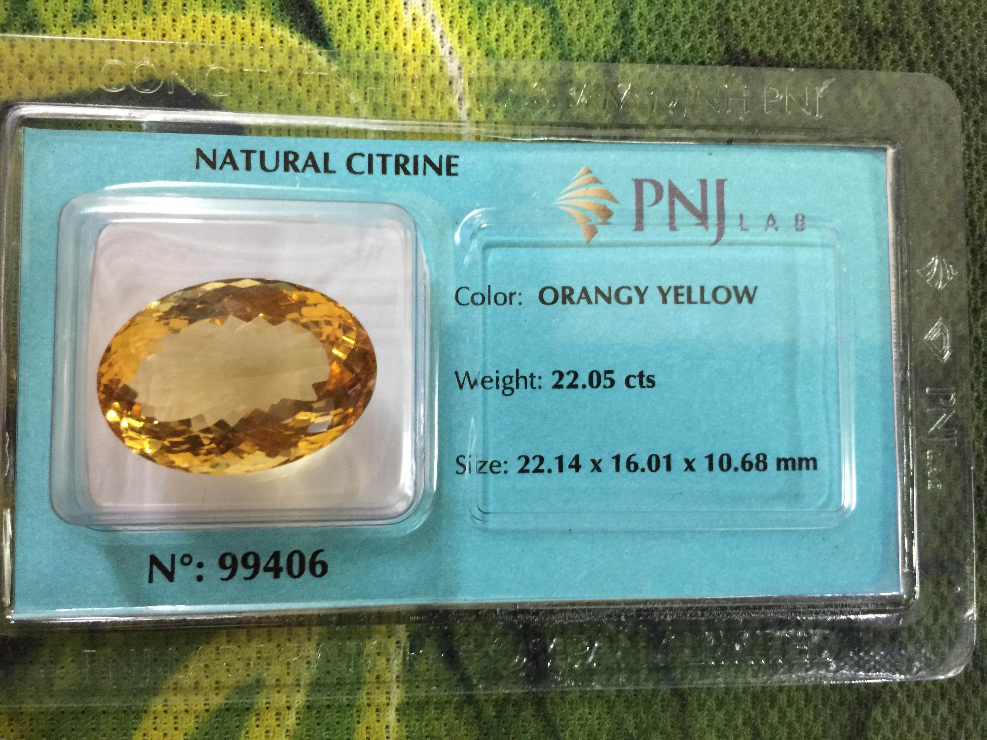 Viên đá Citrine thiên nhiên màu mật ong size lớn rất đẹp  PNJ 99406