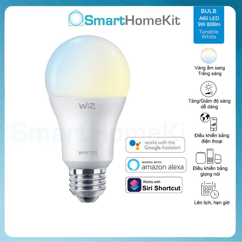 Bóng đèn thông minh Philips WiZ Tunable White E27 9W A60 Trắng Vàng - Hàng Chính Hãng Phân Phối