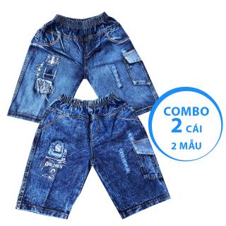Combo 2 quần jean lửng bé trai phối túi cao cấp họa tiết ngẫu nhiên size từ 25-36kg VNXK vải mềm mịn thumbnail