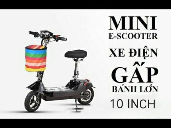 Giá bán Xe Điện Mini Scooter Bánh 10inch 24v12ah Tặng Ghế Em Bé + Giỏ Xe