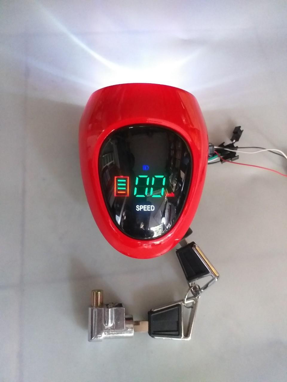Mua đầu đèn xe đạp điện giá tốt- dau den - đầu đèn báo tốc hiển thị led- đầu đèn xe điện kiểu mới - đầu đèn 48v