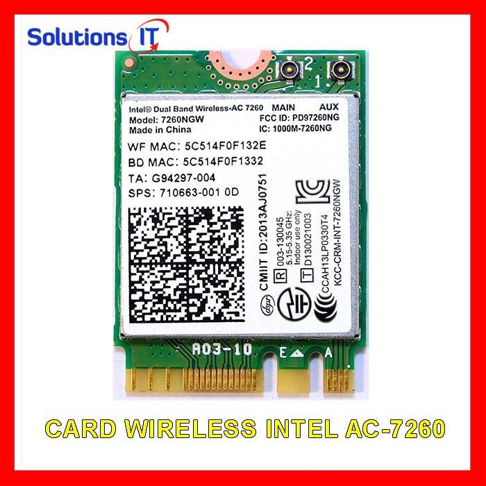 Card WIFI Intel chuẩn AC7260 AC8260 AC9260 AX200 khe M2 có Bluetooth - Card WIFI Laptop Intel 2 băng tần