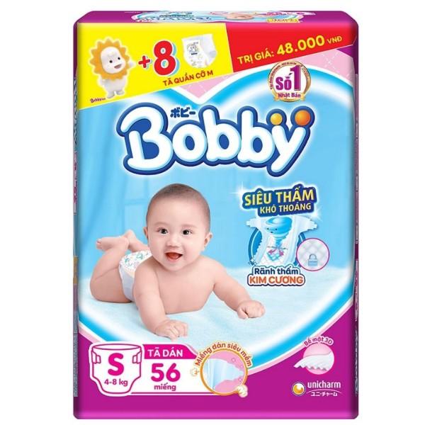 Tã bỉm dán Bobby S56+8 miếng  tã quần size M