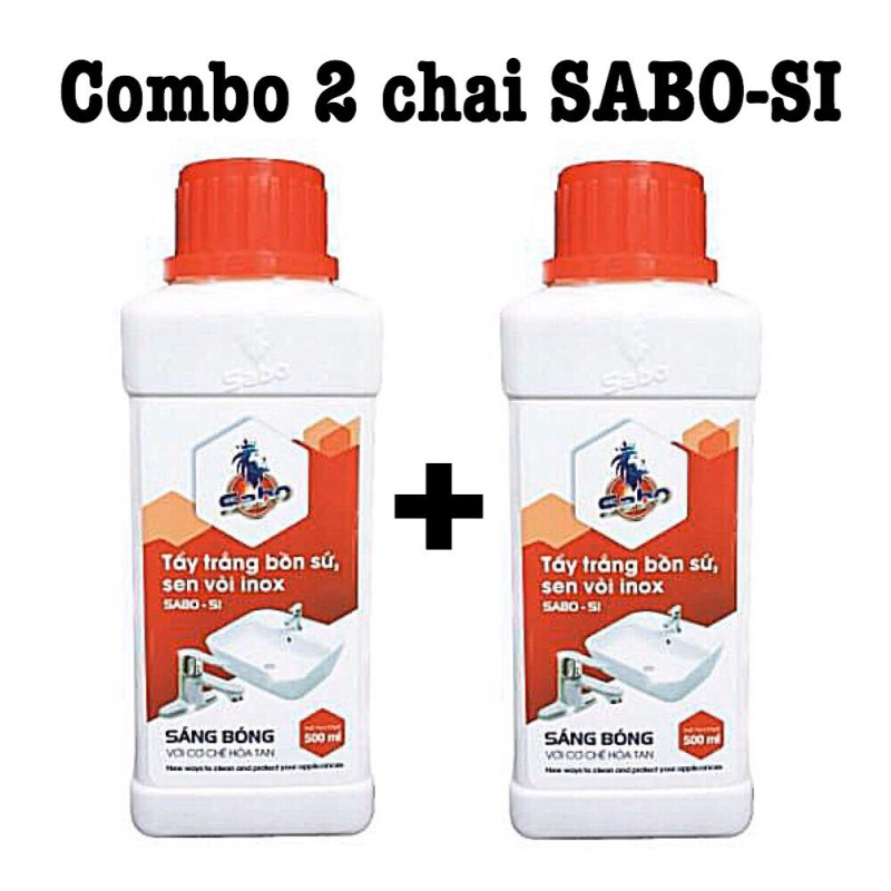 Combo 2 chai tẩy đa năng SABO SI: tẩy trắng bồn sứ, sen vòi, tẩy ố gạch men, cặn nước rỉ sét loại 500ml không mùi
