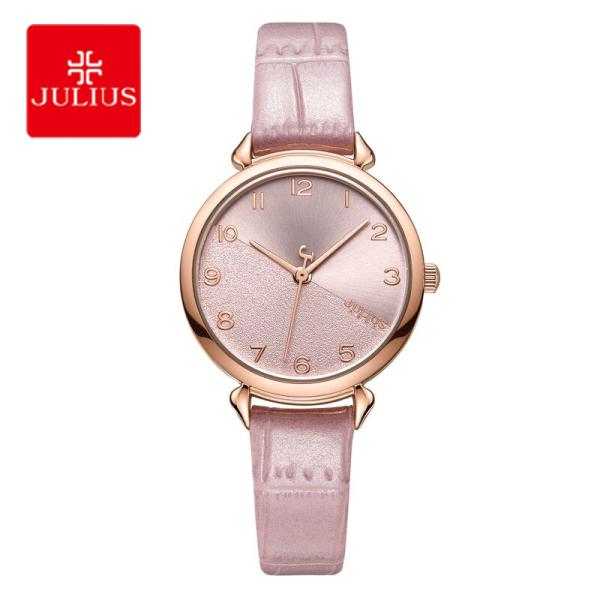 Đồng hồ nữ Julius JA-1274 dây da mặt tròn nhỏ xinh